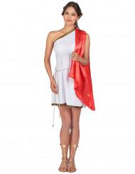 Römische Göttin Damenkostüm weiss-rot-goldfarben