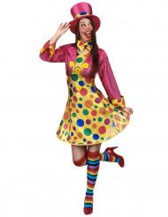 Neckisches Clown-Kostüm für Damen bunt