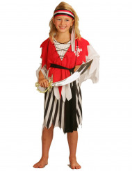 Piraten-Mädchen-Kostüm für Fasching schwarz-weiss-rot