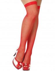 Netzstrümpfe rot Halloween-Motiv für Damen