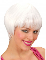 Perücke für Damen, weiß, kurze Haare