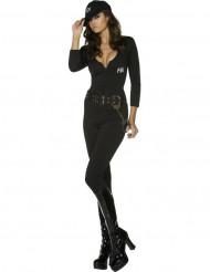 Sexy FBI-Agentin Damenkostüm schwarz-weiss