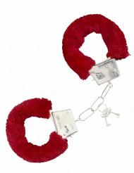 Rote Handschellen mit Fell