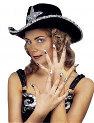 Set mit 15 falschen Fingernägeln silbern, für Damen