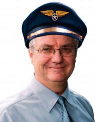 Pilotenmütze für Erwachsene blau-weiss-goldfarben