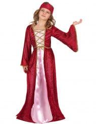 Mittelalterliches Königin-Kinderkostüm für Mädchen rot-pink-goldfarben