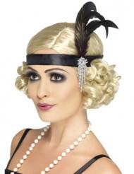 Charleston Stirnband für Damen mit Feder schwarz