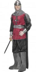 Mittelalterliches Ritterkostüm für Herren schwarz-rot-silberfarben