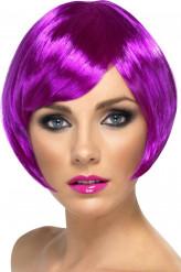Perücke kurze Haare violett für Damen