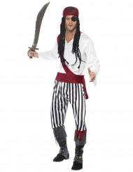 Piraten-Faschingskostüm für Herren schwarz-weiss-rot