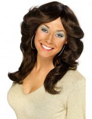 Lange dunkelbraune Perücke für Damen 70er Jahre