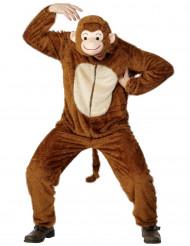 Kuscheliges Affen-Kostüm für Herren Overall braun