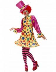 Zirkus-Clown Damenkostüm mit Punkten bunt