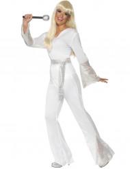 70er-Jahre Sängerin Disco-Kostüm für Damen weiss-silber