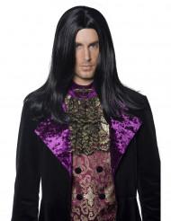 Lange, schwarze Grafen-Perücke für Herren Halloween