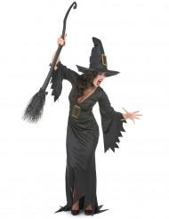 Hexen-Halloween-Damenkostüm schwarz-goldfarben