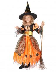 Hexen-Kinderkostüm für Halloween schwarz-orangefarben