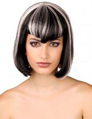 Damenperücke schwarz-weiß