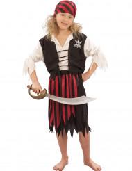 Piratinnen-Kinderkostüm für Mädchen schwarz-weiss-rot