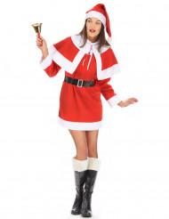 Damenkostüm Santa Weihnachtsfrau mit Umhang und Hut
