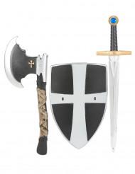Schild, Schwert und Axt eines mittelalterlichen Ritters