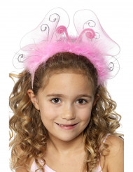 Rosa Schmetterling-Haarreif mit Federn