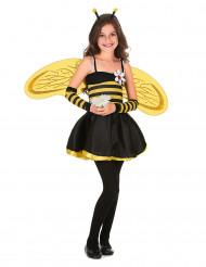 Bienenkostüm für Mädchen mit Stulpen und Flügeln schwarz-gelb