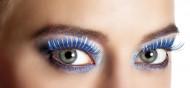 Falsche, blaue und silberne Wimpern