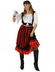 Piratin-Damenkostüm mit Bandana schwarz-weiss-rot