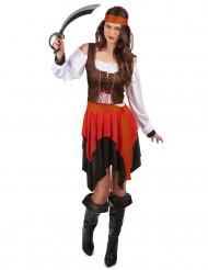 Piraten Kostüm mit Korsett für Damen bunt