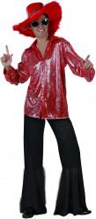 Disco-Kostüm in Rot und Schwarz für Herren