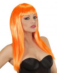 Glamouröse, orange Perücke für Damen