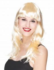 Blonde Langhaar-Perücke für Damen mit Pony