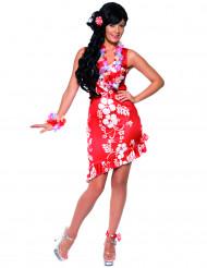 Rot-weißes Hawaii-Kostüm für Damen