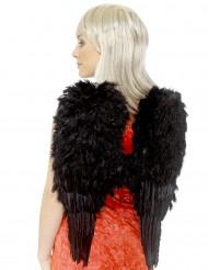 Schwarze Halloweenflügel mit Federn für Erwachsene