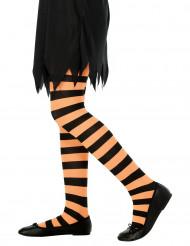 Orange, gestreifte Halloween-Kinderstrumpfhose
