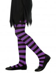 Violett gestreifte Halloween Kinderstrumpfhosen