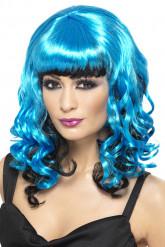 Damenperücke blau schwarz