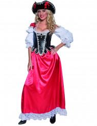 Piratenbraut-Kostüm Deluxe für Damen schwarz-weiss-rot