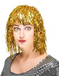 Folienperücke Lametta gold für Damen