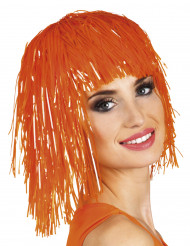 Folienperücke Lametta orange für Damen