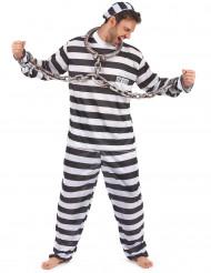 Gefangener-Herrenkostüm Sträfling schwarz-weiss