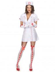 Sexy Krankenschwesterkostüm für Damen weiss-rot