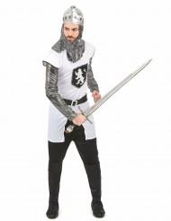 Mittelalter-Ritterkostüm für Herren schwarz-weiss-silberfarben