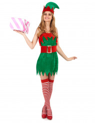 Samtoptik Weihnachtswichtel-Kostüm für Damen in grün-rot