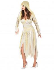 Mumien-Damenkostüm für Halloween weiss-gelb