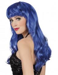 Meerjungfrau-Damenperücke Langhaar mit Pony blau