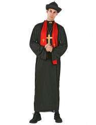 Priester-Kostüm für Herren mit Schal schwarz-rot-goldfarben