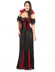 Bodenlanges Vampir-Kostüm Halloween für Damen schwarz-rot