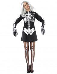 Gruseliges Skelettkostüm für Damen an Halloween schwarz-weiss
